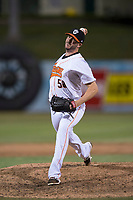 Fresno Grizzlies relief pitcher James Hoyt (58) delivers a pitch to the plate during a Pacific Coast League game against the Salt Lake Bees at Chukchansi Park on May 14, 2018 in Fresno, California. Fresno defeated Salt Lake 4-3. (Zachary Lucy/Four Seam Images)