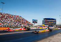 Sep 2, 2017; Clermont, IN, USA; NHRA top fuel driver Leah Pritchett (right) alongside Doug Kalitta during qualifying for the US Nationals at Lucas Oil Raceway. Mandatory Credit: Mark J. Rebilas-USA TODAY Sports