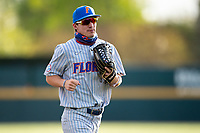 Florida Gators left fielder Jacob Young (1) jogs off the field between innings of the game against the Tennessee Volunteers on Robert M. Lindsay Field at Lindsey Nelson Stadium on April 9, 2021, in Knoxville, Tennessee. (Danny Parker/Four Seam Images)