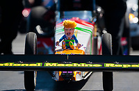 Sep 5, 2020; Clermont, Indiana, United States; Detailed view of a Donald Trump stuffed toy on the front of the dragster of NHRA top fuel driver Luigi Novelli as he does a burnout during qualifying for the US Nationals at Lucas Oil Raceway. Mandatory Credit: Mark J. Rebilas-USA TODAY Sports