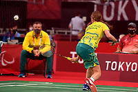 Caitlin Dransfield (AUS) vs Olivia Meier (CAN)<br /> Badminton / SL4<br /> Yoyogi National Stadium<br /> 2020 Tokyo Paralympic Games<br /> Paralympics Australia / Day 10<br /> Tokyo Japan :  Friday 3 Sept  2021<br /> © Sport the library / Jeff Crow / PA