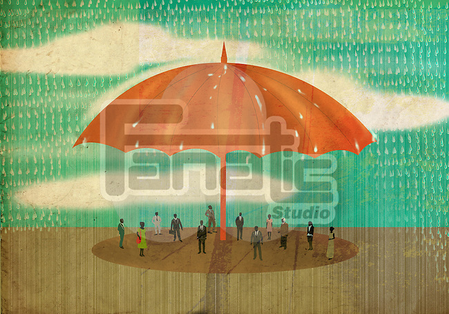 Conceptual illustration of people standing under huge umbrella in rain depicting insurance cover