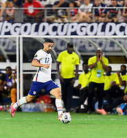DALLAS, TX - JULY 25: Sebastian LLetget #17 of the United States brings the ball up the field during a game between Jamaica and USMNT at AT&T Stadium on July 25, 2021 in Dallas, Texas.