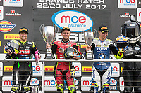 Shane Byrne of the Be Wiser Ducati team (centre), James Ellison of the McAMS Yamaha team (left) and Christian Iddon of the Tyco BMW team (right) celebrate coming 1st, 2nd and 3rd respectively in Race Two of the 2017 BSB Round 6 - Brands Hatch GP Circuit at Brands Hatch, Longfield, England on Sunday 23 July 2017. Photo by David Horn/PRiME Media Images