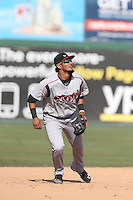 Jose Rondon (13) of the Lake Elsinore Storm in the field during a game against the Inland Empire 66ers at San Manuel Stadium on May 27, 2015 in San Bernardino, California. Lake Elsinore defeated Inland Empire, 12-9. (Larry Goren/Four Seam Images)