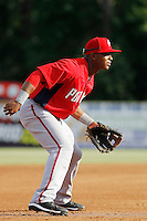 Potomac Nationals third baseman Khayyan Norfolk (15) in the field during a game against the Myrtle Beach Pelicans at Ticketreturn.com Field at Pelicans Ballpark on May 22, 2015 in Myrtle Beach, South Carolina.  Myrtle Beach defeated Potomac 8-4. (Robert Gurganus/Four Seam Images)