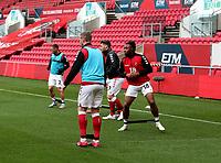 31st October 2020; Ashton Gate Stadium, Bristol, England; English Football League Championship Football, Bristol City versus Norwich; Antoine Semenyo of Bristol City  warming up before the match