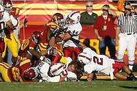 6 October 2007: Pat Maynor, Nick Sanchez, Erik Lorig and Bo McNally prevent USC from scoring on a fourth and goal during Stanford's 24-23 win over the #1 ranked USC Trojans in the Los Angeles Coliseum in Los Angeles, CA.