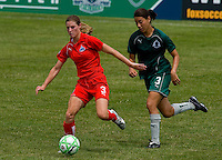 Washington Freedom defender/midfielder Jill Gilbeau (3) and St. Louis Athletica defender Stephanie Logterman (3) during a WPS match at Anheuser-Busch Soccer Park, in Fenton, MO, June 20 2009. Washington  won the match 1-0.