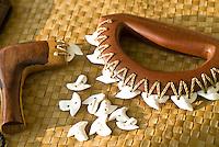 Hawaiian weapon made of wood, shark teeth and cordage; UMI KAI is one of Hawaii's few crafters of Hawaiian weapons and a member of a Hawaiian martial arts group, Pa Ku'i-a-Lua.