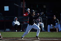 Josh Finerty (43) of the Bellarmine Knights follows through on his swing against the North Greenville Crusaders at Ashmore Park on February 7, 2020 in Tigerville, South Carolina. The Crusaders defeated the Knights 10-2. (Brian Westerholt/Four Seam Images)