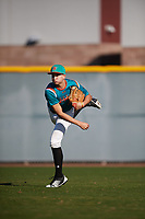 Cesar Franco (11) of Cypress Bay High School in Weston, Florida during the Baseball Factory All-America Pre-Season Tournament, powered by Under Armour, on January 13, 2018 at Sloan Park Complex in Mesa, Arizona.  (Mike Janes/Four Seam Images)