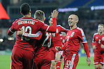 UEFA European Championship at Cardiff City Stadium - Wales v Cyprus : <br /> Hal Robson-Kanu celebrates his first half goal with fellow Welsh goalscorer David Cotterill (right).