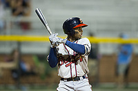 Raysheandall Michel (22) of the Danville Braves at bat against the Burlington Royals at Burlington Athletic Stadium on August 15, 2017 in Burlington, North Carolina.  The Royals defeated the Braves 6-2.  (Brian Westerholt/Four Seam Images)