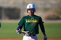 Lorenzo Martinez (43), from Farmers Branch, Texas, while playing for the Athletics during the Under Armour Baseball Factory Recruiting Classic at Red Mountain Baseball Complex on December 29, 2017 in Mesa, Arizona. (Zachary Lucy/Four Seam Images)
