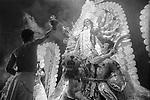 A durga idol being worshiped during the annual Durga Puja in Kolkata, India.