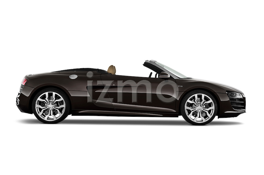 Passenger side profile view of a 2010 - 2012 Audi R8 Spyder v10 2 Door Convertible.