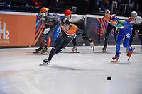 SPEEDSKATING: DORDRECHT: 07-03-2021, ISU World Short Track Speedskating Championships, 3000m Superfinal Men, Dylan Hoogerwerf (NED), Pietro Sighel (ITA), ©photo Martin de Jong