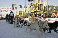 March 3, 2007   Jessie Royer leaves the start line during the Iditarod ceremonial start day in Anchorage