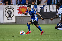 SAN JOSE, CA - AUGUST 13: Javier Eduardo Lopez #9 of the San Jose Earthquakes dribbles the ball during a game between San Jose Earthquakes and Vancouver Whitecaps at PayPal Park on August 13, 2021 in San Jose, California.