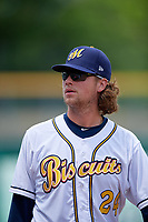 Montgomery Biscuits pitcher Curtis Taylor (24) after a Southern League game against the Mobile BayBears on May 2, 2019 at Riverwalk Stadium in Montgomery, Alabama.  Mobile defeated Montgomery 3-1.  (Mike Janes/Four Seam Images)