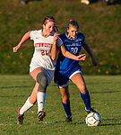LITCHFIELD, CT-110620S18 —Northwestern's Lexi Ayers (21) and Litchfield's Jacquelynn Kenna (20) run down a loose ball during their Berkshire League game Friday at Litchfield High School. <br /> Jim Shannon Republican-American