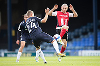 Jason Demetriou, Southend United knocks the ball away from Matt Jay of Exeter City during Southend United vs Exeter City, Sky Bet EFL League 2 Football at Roots Hall on 10th October 2020