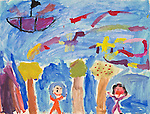 Art work by school age child, age 7,scene with people and trees