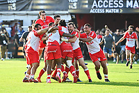 Biarritz players celebrate victory during the Top 14 Play-off rugby match between Biarritz and Bayonne at Parc des Sports Aguilera in Biarritz, France on Saturday, June 12, 2021. Photo by Alexandre Dimou / Icon Sport
