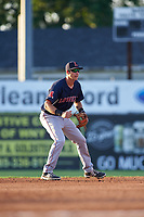 Lowell Spinners shortstop Michael Osinski (29) during a game against the Batavia Muckdogs on July 11, 2017 at Dwyer Stadium in Batavia, New York.  Lowell defeated Batavia 5-2.  (Mike Janes/Four Seam Images)