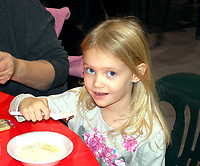Marc Hayot/Herald Leader Madison Straubing gets ready to take a bite of soup at the 9th annual Civitan Soup Sampler at Community Christian Fellowship, located at 525 S. Lincoln St.