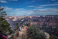 Tourists gather at Point Imperial at the North Rim of the Grand Canyon at Grand Canyon National Park, Arizona