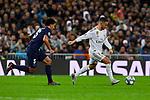 Eden Hazard of Real Madrid and Marquinhos of Paris Saint-Germain FC during UEFA Champions League match between Real Madrid and Paris Saint-Germain FC at Santiago Bernabeu Stadium in Madrid, Spain. November 26, 2019. (ALTERPHOTOS/A. Perez Meca)