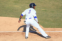 Wisconsin Timber Rattlers outfielder Monte Harrison (3) takes a lead off third base during a game against the Peoria Chiefs on April 12th, 2015 at Fox Cities Stadium in Appleton, Wisconsin.  Peoria defeated Wisconsin 11-1.  (Brad Krause/Four Seam Images)