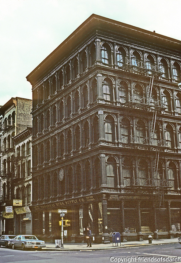 New York City: Haughwout Building, 1857.  488-492 Broadway. J.P. Gaynor. Commercial loft building in SoHo section of Manhattan. Cast-iron with first successful passenger elevator. Photo '78.