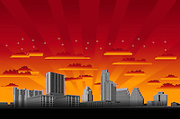 New Austin Skyline illustration graphic at sunset with orange sky and dramatic red sunbeams and clouds.