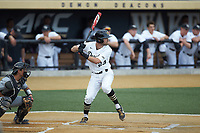Jake Mueller (23) of the Wake Forest Demon Deacons at bat against the Davidson Wildcats at David F. Couch Ballpark on May 7, 2019 in  Winston-Salem, North Carolina. The Demon Deacons defeated the Wildcats 11-8. (Brian Westerholt/Four Seam Images)