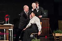 """Probe des Theaterstueck """"ROSA- UND DIE FREIHEIT DER ANDERSDENKENDEN"""" der Dramaturgin Barbara Kastner.<br /> Regie: Anja Panse.<br /> Darsteller:<br /> Rosa Luxemburg: Susanne Jansen (im Bild sitzend).<br /> Ernst Julius Waldemar Pabst, Kaiser Wilhelm III, u.a.: Lutz Wessel (stehend, links im Bild).<br /> Leutnant, Bundesverteidigungsminsiterin, u.a.: Arne van Dorsten (stehend, rechts im Bild).<br /> Musikerin, Sophie Lieberknecht: Annegret Enderle.<br /> 22.5.2017, Berlin<br /> Copyright: Christian-Ditsch.de<br /> [Inhaltsveraendernde Manipulation des Fotos nur nach ausdruecklicher Genehmigung des Fotografen. Vereinbarungen ueber Abtretung von Persoenlichkeitsrechten/Model Release der abgebildeten Person/Personen liegen nicht vor. NO MODEL RELEASE! Nur fuer Redaktionelle Zwecke. Don't publish without copyright Christian-Ditsch.de, Veroeffentlichung nur mit Fotografennennung, sowie gegen Honorar, MwSt. und Beleg. Konto: I N G - D i B a, IBAN DE58500105175400192269, BIC INGDDEFFXXX, Kontakt: post@christian-ditsch.de<br /> Bei der Bearbeitung der Dateiinformationen darf die Urheberkennzeichnung in den EXIF- und  IPTC-Daten nicht entfernt werden, diese sind in digitalen Medien nach §95c UrhG rechtlich geschuetzt. Der Urhebervermerk wird gemaess §13 UrhG verlangt.]"""