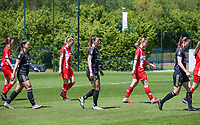 Luna Vanzeir (10) of OHL, Charlotte Cranshoff (18) of Standard , Hannah Eurlings (9) of OHL, Aster Janssens (5) of Standard  and Lenie Onzia (8) of OHL entering the pitch before a female soccer game between Standard Femina de Liege and Oud Heverlee Leuven on the 10th and last matchday in play off 1 of the 2020 - 2021 season of Belgian Scooore Womens Super League , saturday 29 th of May 2021  in Angleur , Belgium . PHOTO SPORTPIX.BE | SPP | SEVIL OKTEM