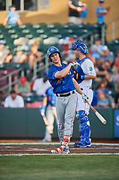 Scott Heineman (66) of the Round Rock Express bats against the Omaha Storm Chasers at Werner Park on May 27, 2018 in Papillion , Nebraska. Round Rock defeated Omaha 8-3. (Stephen Smith/Four Seam Images)