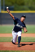 Seattle Mariners minor league pitcher Gabriel Saquilon #52 during an instructional league game against the Kansas City Royals at the Peoria Sports Complex on October 2, 2012 in Peoria, Arizona.  (Mike Janes/Four Seam Images)