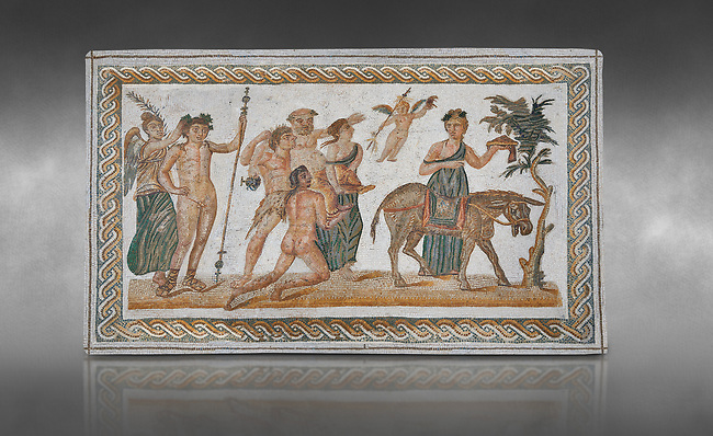 Picture of a Roman mosaics design depicting scenes from the Life of Dionysus, from the ancient Roman city of Thysdrus, House of Silenus. Late 2nd to early 3rd century AD. El Djem Archaeological Museum, El Djem, Tunisia. Against a grey background<br /> <br /> In the central panel of this Roman mosaic the  teacher of Dionysus, Silenus, is being carried towards a donkey.