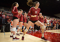 STANFORD, CA - NOVEMBER 17: Stanford, CA - November 17, 2019: Audriana Fitzmorris, Caitie Baird at Maples Pavilion. #4 Stanford Cardinal defeated UCLA in straight sets in a match honoring neurodiversity. during a game between UCLA and Stanford Volleyball W at Maples Pavilion on November 17, 2019 in Stanford, California.
