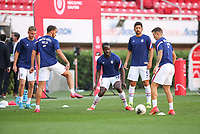 ZAPOPAN, MEXICO - MARCH 21: Benjamin Michel #14 of the United States warming up before a game between Dominican Republic and USMNT U-23 at Estadio Akron on March 21, 2021 in Zapopan, Mexico.