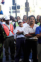 Clean-up workers for Hurricane Katrina line up for lunch on Canal Street in New Orleans, October 5, 2005.<br /> <br /> (AP photo/Cheryl Gerber)