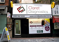 Covid19 testing at the Claret Diagnostics private health testing facility in Londonís Leicester Square. Claret Diagnostics services range from pathology tests and extending to providing PCR Swab Tests in kit form for a DIY self-test or by a specialist Nurse. London October 14th 2020<br /> CAP/ROS<br /> ©ROS/Capital Pictures