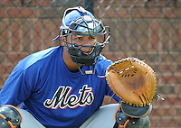 August 2, 2009: Catcher Juan Torres (48) of the Kingsport Mets, rookie Appalachian League affiliate of the New York Mets, before a game at Pioneer Park in Greeneville, Tenn. Photo by:  Tom Priddy/Four Seam Images