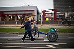 © Joel Goodman - 07973 332324 . 15/10/2017 . Manchester , UK . Wheelchair racer ADAM GOLDSPINK-BURGESS prepares ahead of taking part in the Greater Manchester Half Marathon in Old Trafford . Photo credit : Joel Goodman