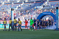 DENVER, CO - JUNE 3: USA starting eleven walking out during a game between Honduras and USMNT at EMPOWER FIELD AT MILE HIGH on June 3, 2021 in Denver, Colorado.