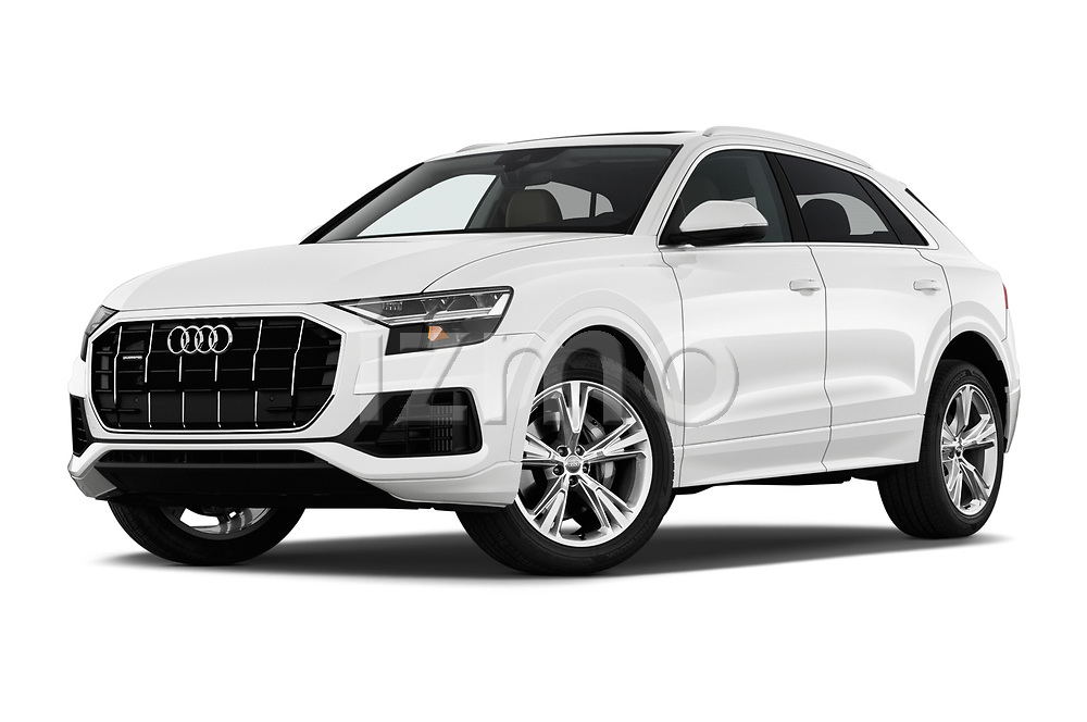 Stock pictures of low aggressive front three quarter view of a 2019 Audi q8 Premium Plus 5 Door SUV